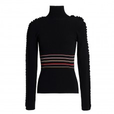 roksanda ruffle trimmed striped ribbed knit turtleneck sweater