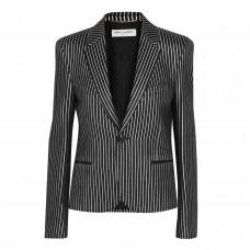 saint laurent striped metallic jacquard blazer