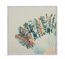Modern Turquoise and Orange Palm Print in White Frame by Stone & Beam