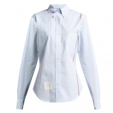 thom browne blue stripe button down striped cotton poplin shirt