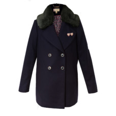 ted baker gaita removable faux fur collar wool pea coat