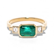 azlee jewelry emerald and baguette diamond ring