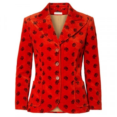 chloe printed cotton blend corduroy blazer