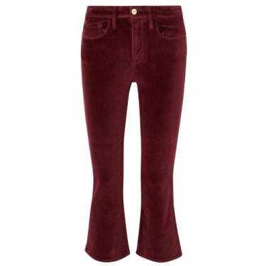 frame le crop mini boot cotton blend velvet flared pants