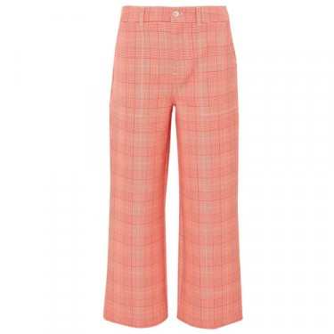 ganni garvey checked cady wide leg pants