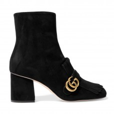 gucci fringed logo embellished suede ankle boots