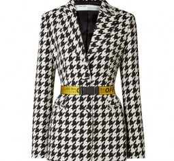 Canvas Jacquard-trimmed Houndstooth Wool-blend Blazer by Off-White