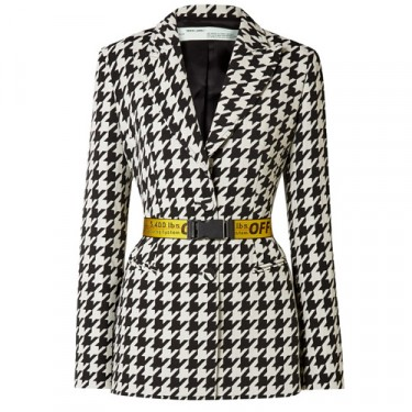 off white canvas jacquard trimmed houndstooth wool blend blazer