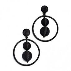oscar de la renta double beaded ball hoop earrings