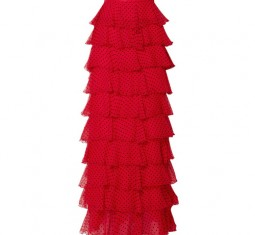 Tiered Polka-Dot Flocked Silk-Chiffon Maxi Skirt by Rodarte