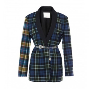 tibi tartan oversized tuxedo blazer with removable belt