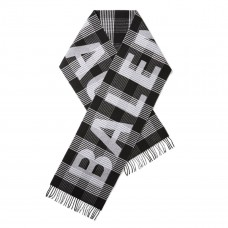 balenciaga fringed checked intarsia wool scarf