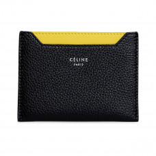 celine card holder in drummed black