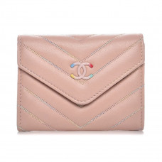chanel quilted chevron card holder