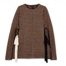 derek lam leather trimmed checked wool blend tweed poncho