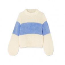 ganni julliard striped mohair and wool blend sweater