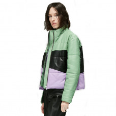 veda sharpe leather puffer coat combo