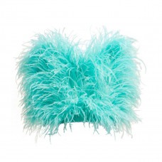 attico faux pearl trimmed ostrich feather top