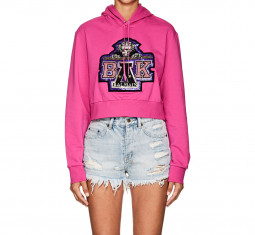 Embellished Cotton Terry Crop Hoodie by Balmain for Beyoncé