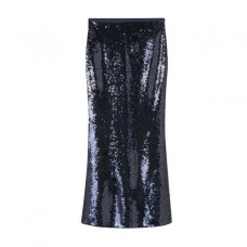 blue full length sequin skirt
