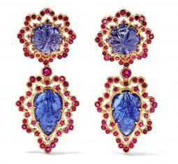18-Karat Gold, Tanzanite and Ruby Rarrings by Buccellati