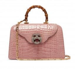 Thiara Bamboo-Handle Crocodile-Leather Bag by Gucci