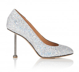 Metal-Heel Glitter Pumps by Maison Margiela