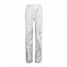 space metallic coated crepe straight leg pants