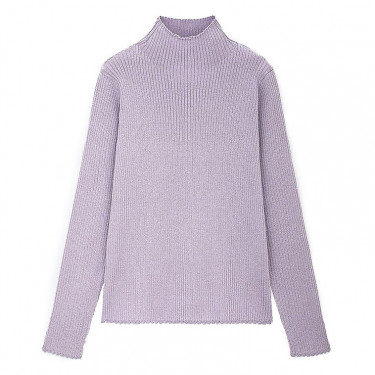 uniqlo women shiny ribbed high neck sweater