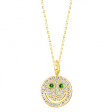 eye funny diamond smiley necklace