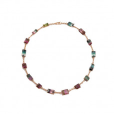 irenenu wirth one of a kind bi color tourmaline link necklace 18k rose gold