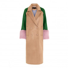 meotine karo wool coat green