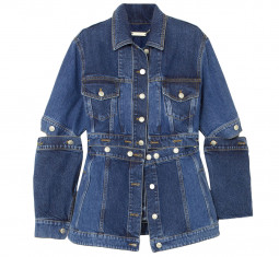 Convertible Denim Peplum Jacket by Alexander McQueen