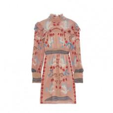 anna sui ruffle trimmed printed gauze turtleneck mini dress