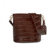 chylak cylinder croc effect glossed leather shoulder bag