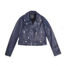 dstld womens leather biker jacket in blue