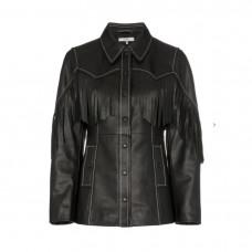 ganni angela fringed leather jacket