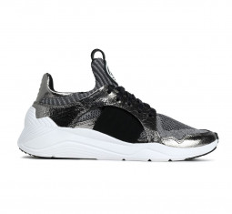 Metallic Cracked Leather-Trimmed Stretch-Knit Sneakers by McQ Alexander McQueen