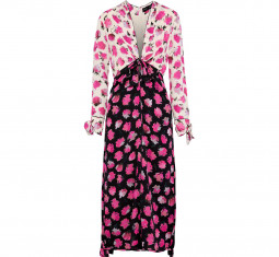 Knotted Two-Tone Floral-Print Silk Midi Dress by Proenza Schouler