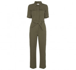 Belted Cotton and Linen Jumpsuit by Frame