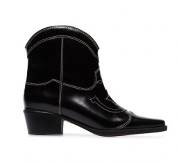 Black Meg 50 Leather Ankle Boots by Ganni