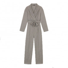 maje paris belted plaid jumpsuit