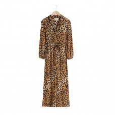 & other stories long sleeve leopard print jumpsuit