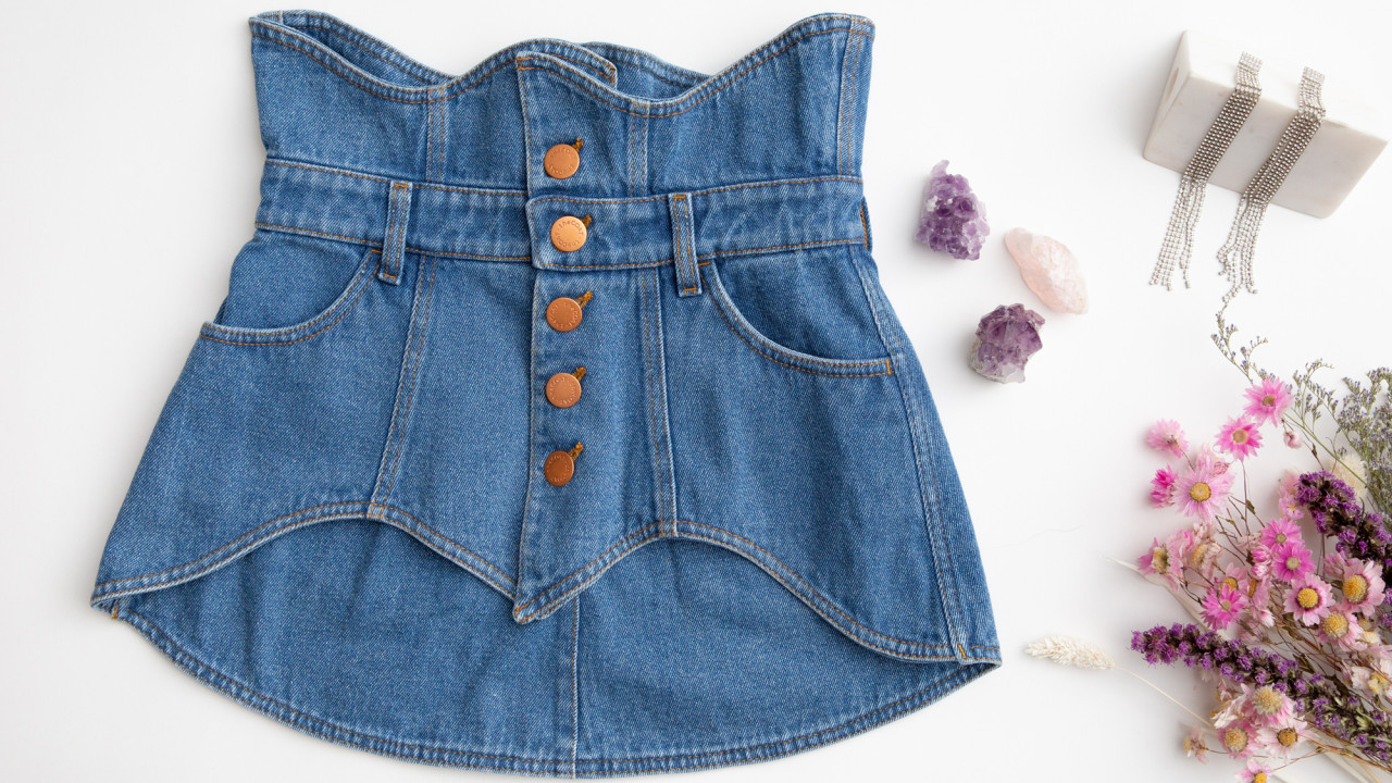 the coat 62-piece denim corset