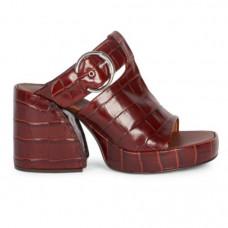 chloe croc embossed leather buckle sandals
