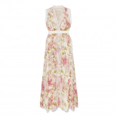 giambattista valli lace trimmed floral print silk gown