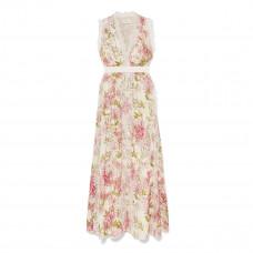 giambattista valli lace trimmed floral print silk gown