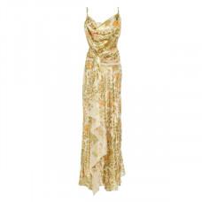 oscar de la renta draped printed silk blend lame dress