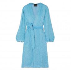 retrofete audrey velvet trimmed sequined chiffon wrap dress