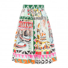 prada printed cotton poplin skirt